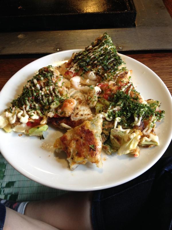 okonomiyaki del restaurante Sometaro de Asakusa en Tokio