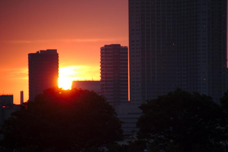 sol entre los edificios de Tokio visto desde Odaiba