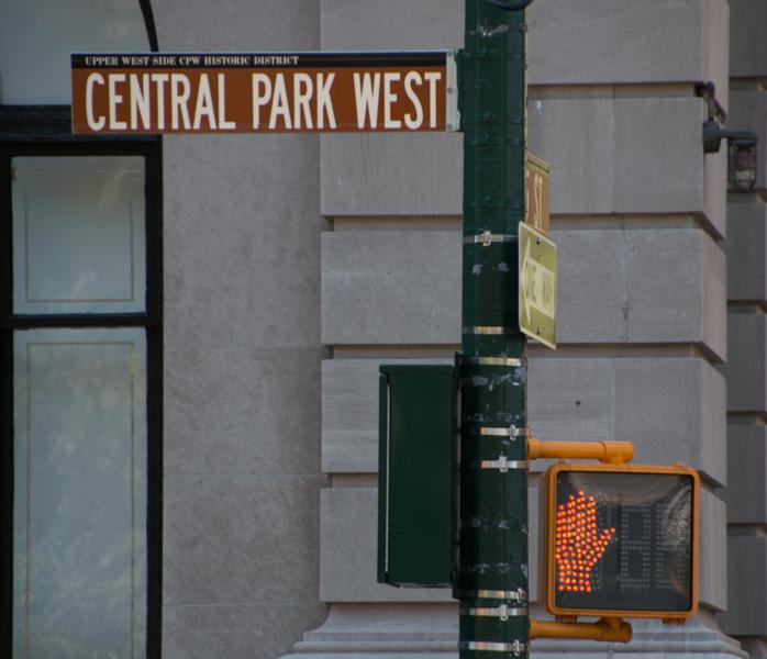 señal de Central Park West en Nueva York