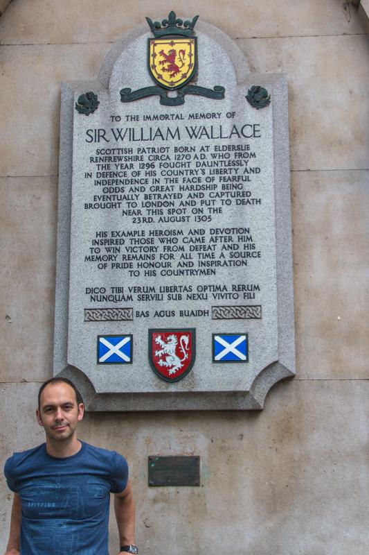 Sergio en la placa de William Wallace
