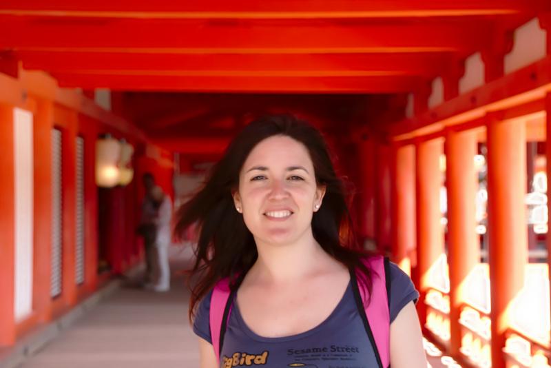 Lidia en el Santuario de Itsukushima de Miyajima