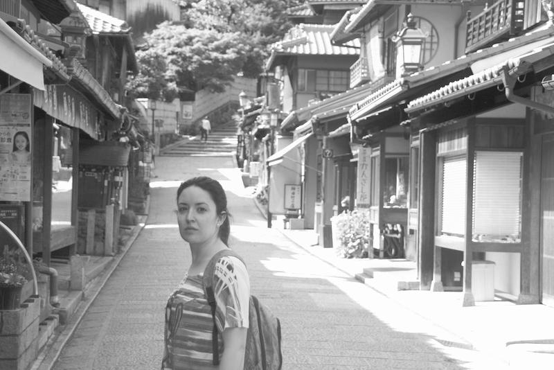 Lidia en las calles de Ninenzaka en Kioto