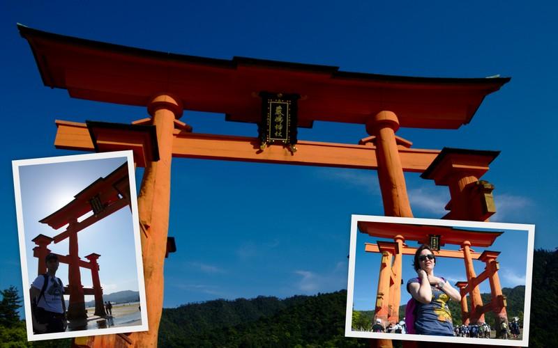 collage de Lidia y Sergio en Otorii de Miyajima desde la playa
