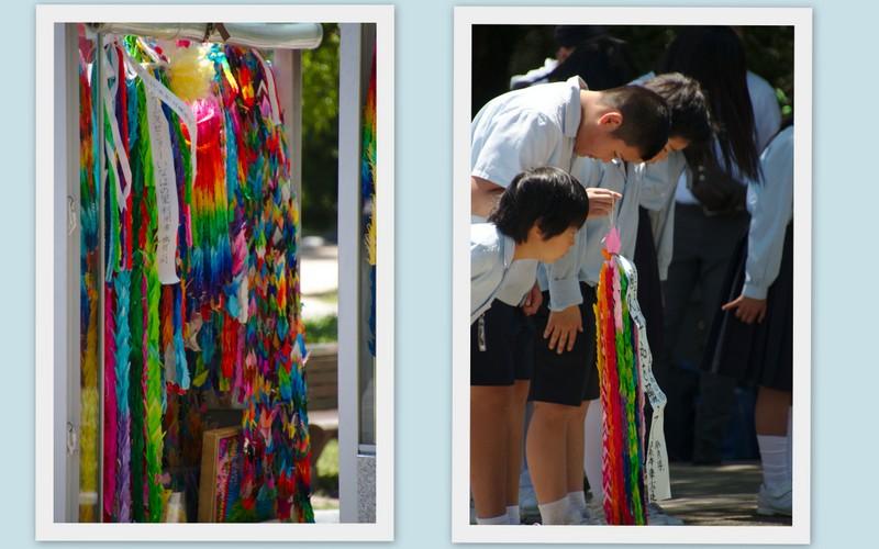 collage de niños ofreciendo grullas de origami en el Monumento a la Paz de los Niños en Parque de la Paz de Hiroshima