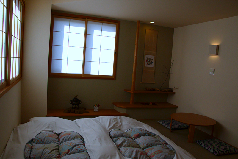 habitacion del ryokan Mizuhasu en Miyajima futones