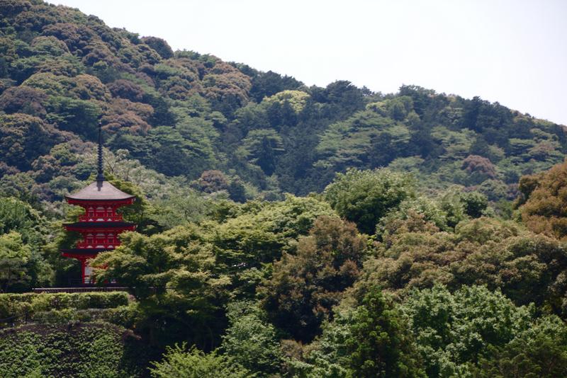 vistas de la pagoda desde el templo Kiyomizudera en el barrio de Higashiyama en Kioto