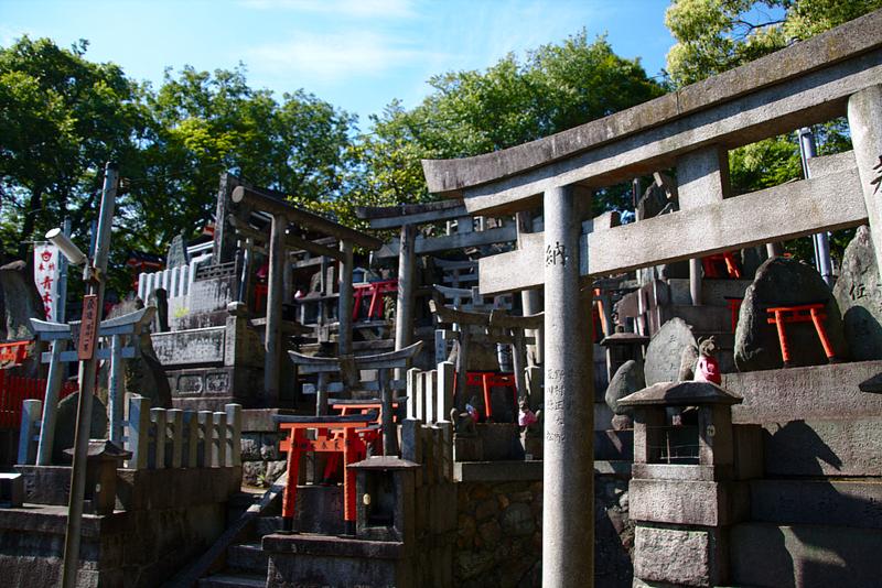 conjunto de toriis en la cima del Fushimi Inari en Kioto