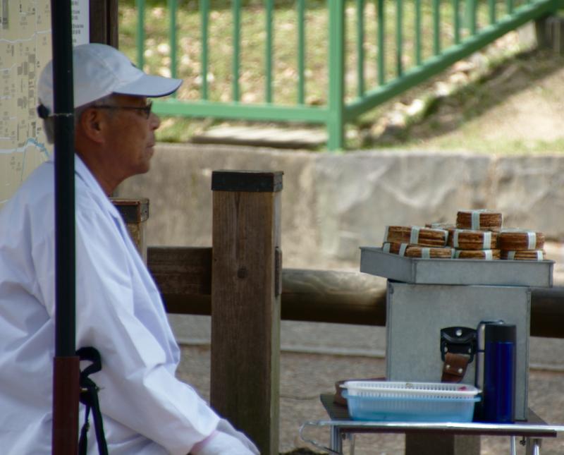 vendedor de comida para los ciervos del parque de Nara