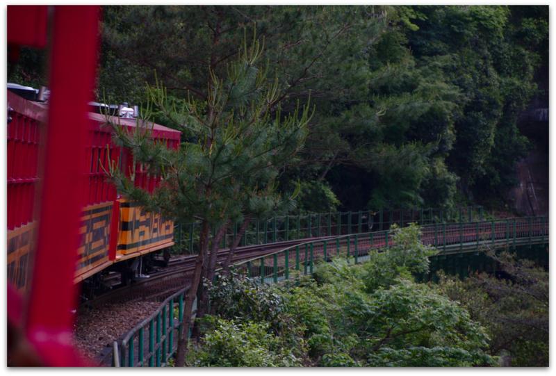 vista del Sagano Romantic Train en Arashiyama Kioto