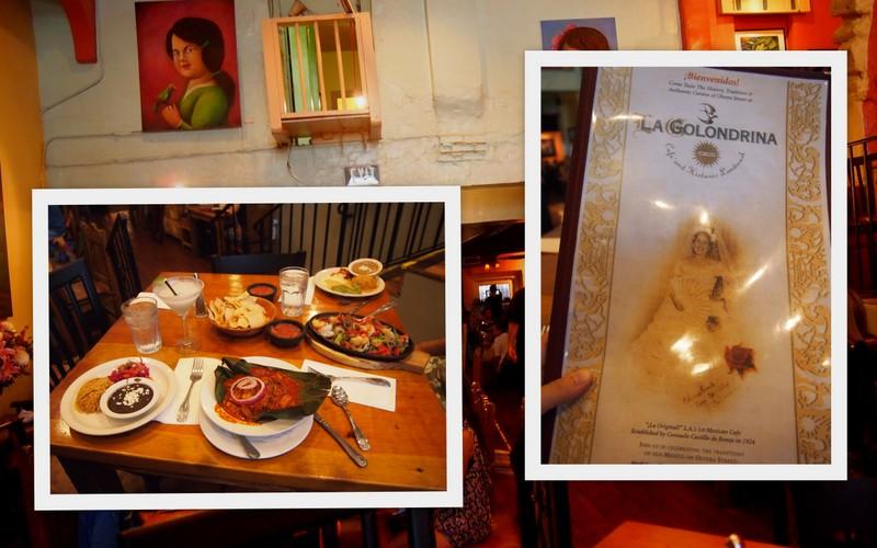 collage restaurante mexicano La Golondrina en El Pueblo de Los Angeles