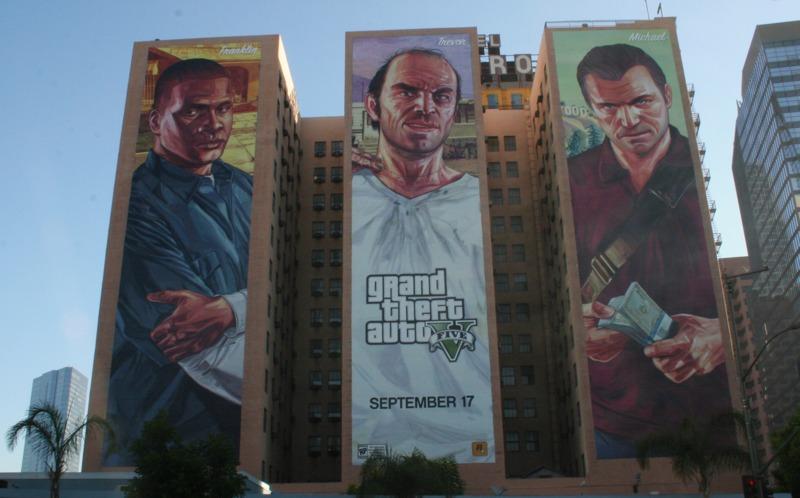 mural de video juego en un edificio del Downtown de Los Angeles