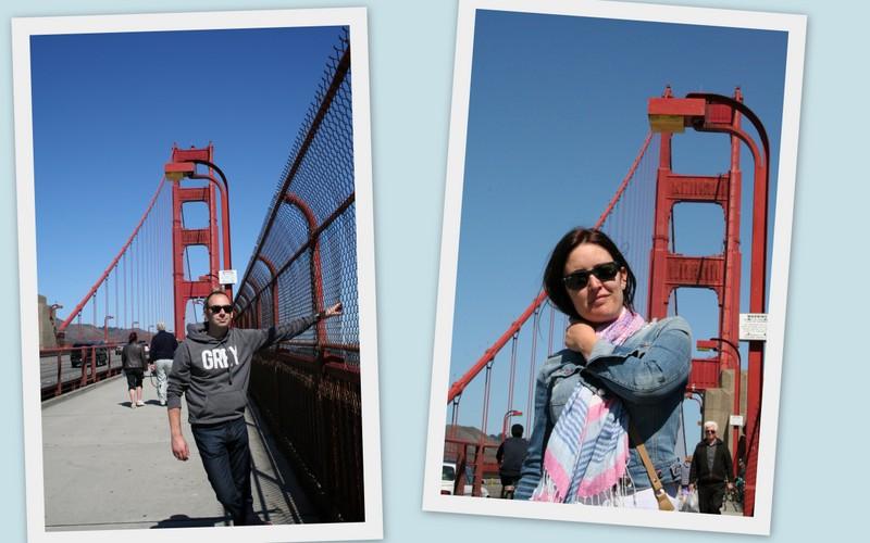 Sergio y Lidia cruzando el Golden Gate Bridge a pie