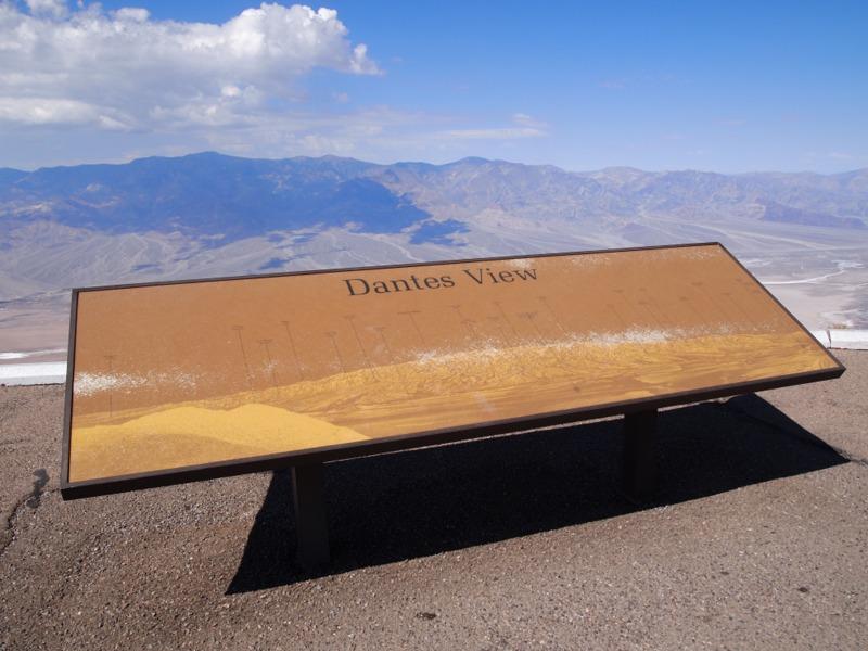 cartel de indicación de Dante's View en Death Valley