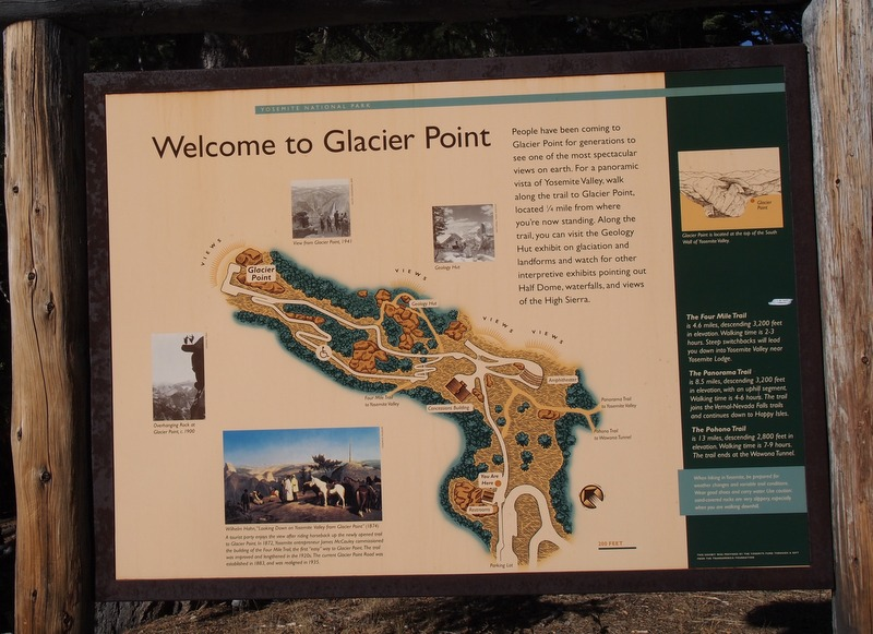 cartel indicativo a la llegada de Glacier Point, en Yosemite