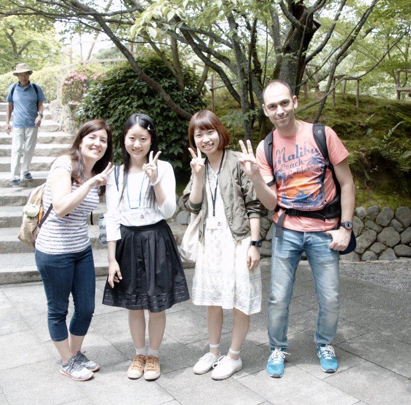 Lidia y Sergio con Mariko y Mizuki en Kyoto