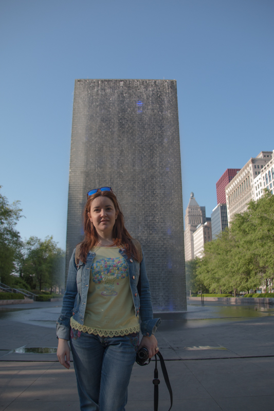 Lidia en The Crown Fountain del Millenium Park de Chicago