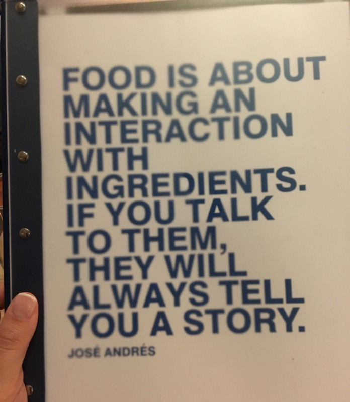 carta del restaurante Zaytinya del chef José Andrés en Washington DC