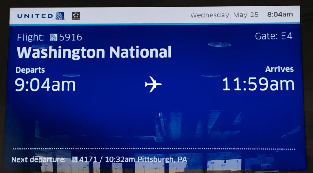cartel del vuelo Chicago-Washington con United Airlines