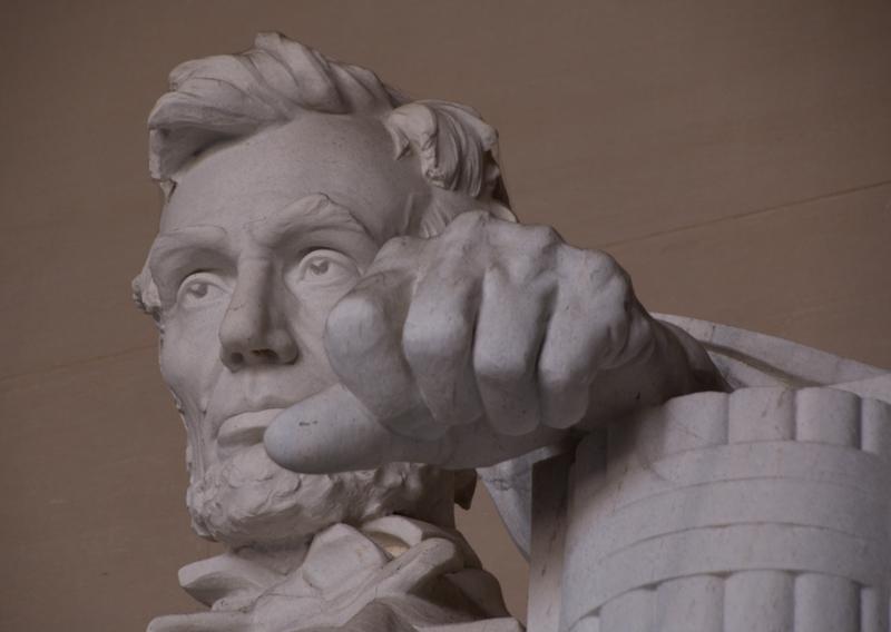 detalle de la estatua de Lincoln del Lincoln Memorial en Washington DC 2