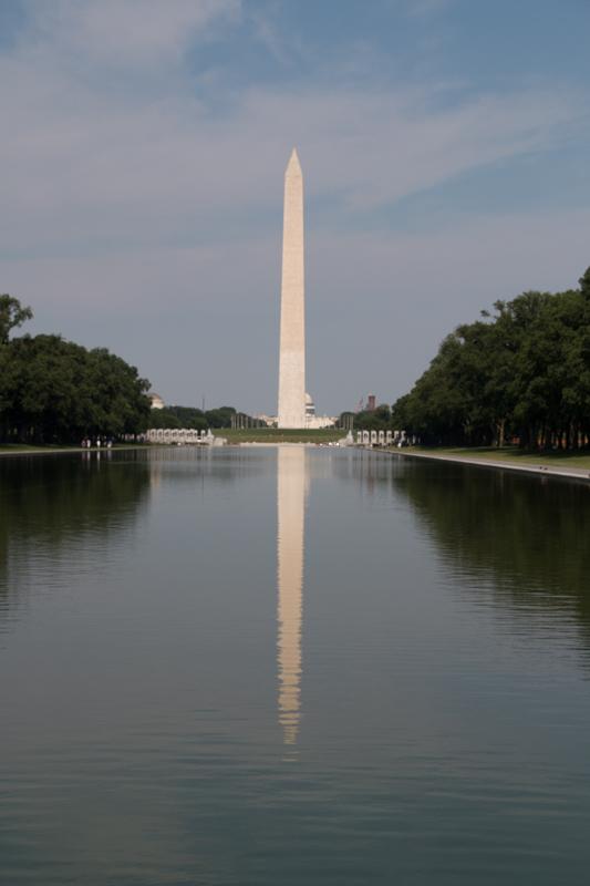 el Obelisco reflejado en la Reflecting Pool de Washington DC