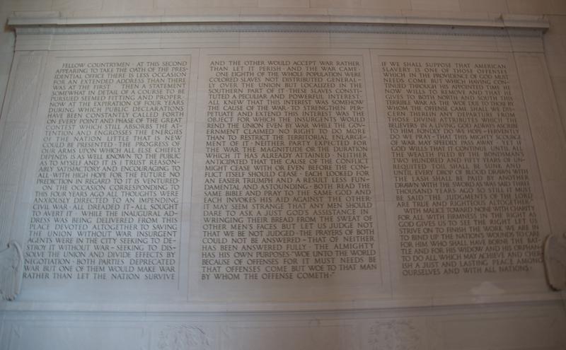 incripcion en el Lincoln Memorial de Washinton DC