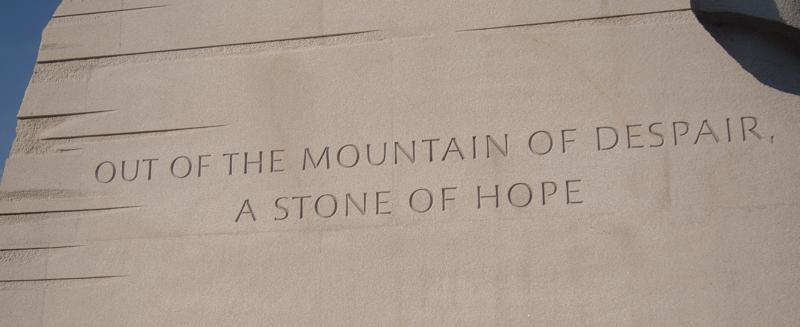 inscripción en el Memorial de Martin Luther King en Washington DC