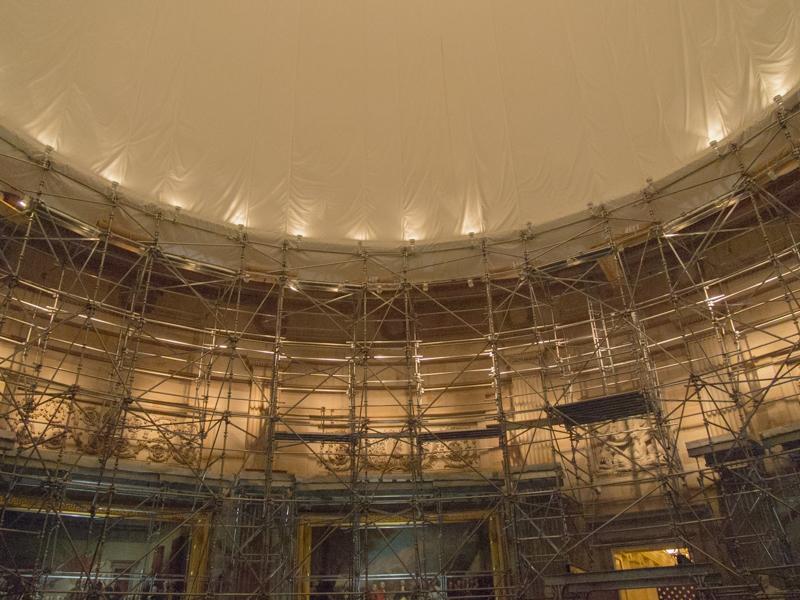 la Rotonda del Capitolio de Washington DC con andamios