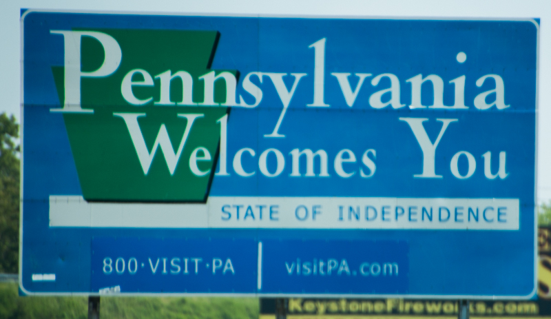 cartel de llegada al estado de Pensilvania
