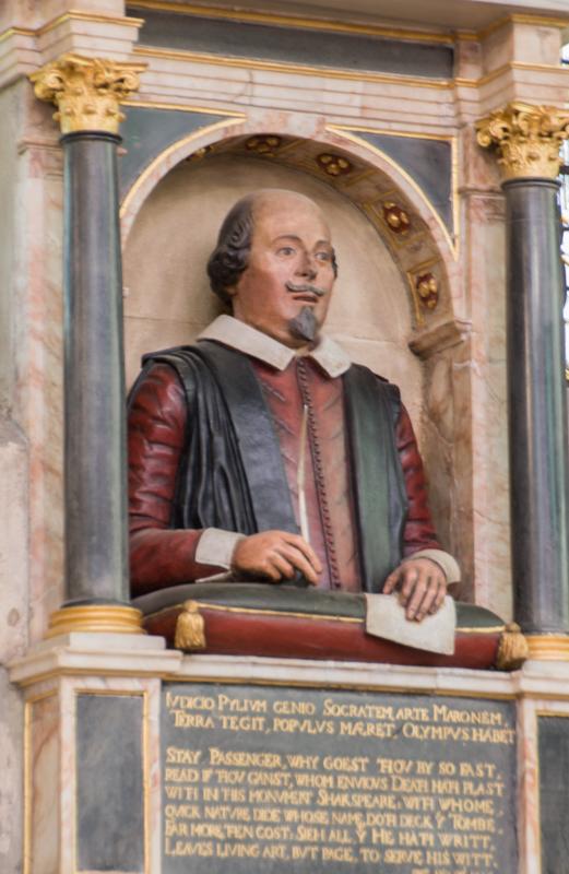 busto de Shakespeare en la Holy Trinity Church en Stratford-upon-Avon